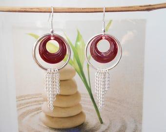 dark red sequin silver ring earrings