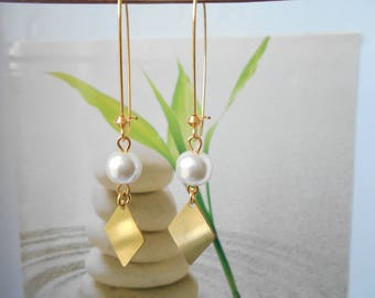 Earrings Pearl Pearl ivory gold pendant