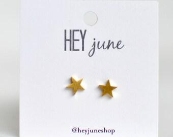 Tiny gold star earrings, star earrings, gold star stud earrings, fourth of july earrings, minimalist earrings, silver star stud earrings