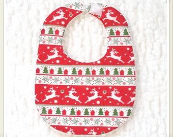 Bavoir de Noël pour bébé rouge/blanc/vert -  Taille naissance (0-6 mois)