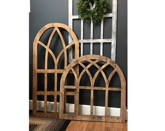 Wood window etsy for Window arch wall decor