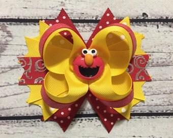 Elmo Hair Bow ,Elmo Stacked Hair Bow ,Elmo Boutique Hair Bows ,Girls Hair Bow ,Elmo Hairbow ,Elmo Baby Headband