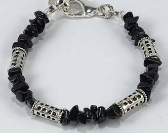 Handmade Men's Genuine Black Obsidian Bracelet Jewelry Men's Obsidian Bracelet Scorpio Jewelry Sagittarius jewelry Black Obsidian jewelry