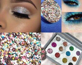 SPARKLY PRESSED GLITTER Eyeshadow Cosmetic Makeup (Rainbow) uk