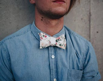 Men's Cream And Pink -self Tie Bow Tie| Flower | Self Tie | Bow Tie | Bowtie | Floral | Wedding | Groom | Gift | Ideas | for him