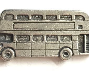 Double Decker Bus Pewter Lapel Pin Badge