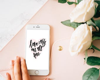 Watercolor Iphone wallpaper, phone background, Love casts out all fear, digital wallpaper, bible verse wallpaper, phone wallpaper