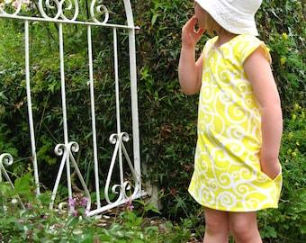 Girls yellow dress, girls dress, girls summer dress, girls pinafore, girls a-line dress, girls party dress, girls everyday dress