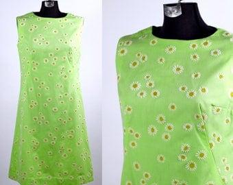 Vintage 1960s 70s Dizzy Daizy Dress / large