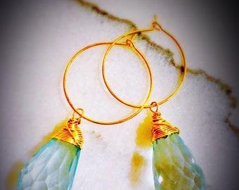 Clear Green Rutilated Teardrop Earrings Wrapped in Gold Wire
