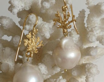 White Baroque pearl and silver coral earrings