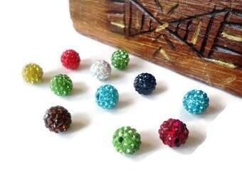 Set of 10 shamballas multicolored 10 mm rhinestone beads
