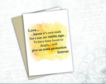 harry potter gift card JK Rowling Quote love  Dumbledore book lover gift  harry potter wedding collectible love quote