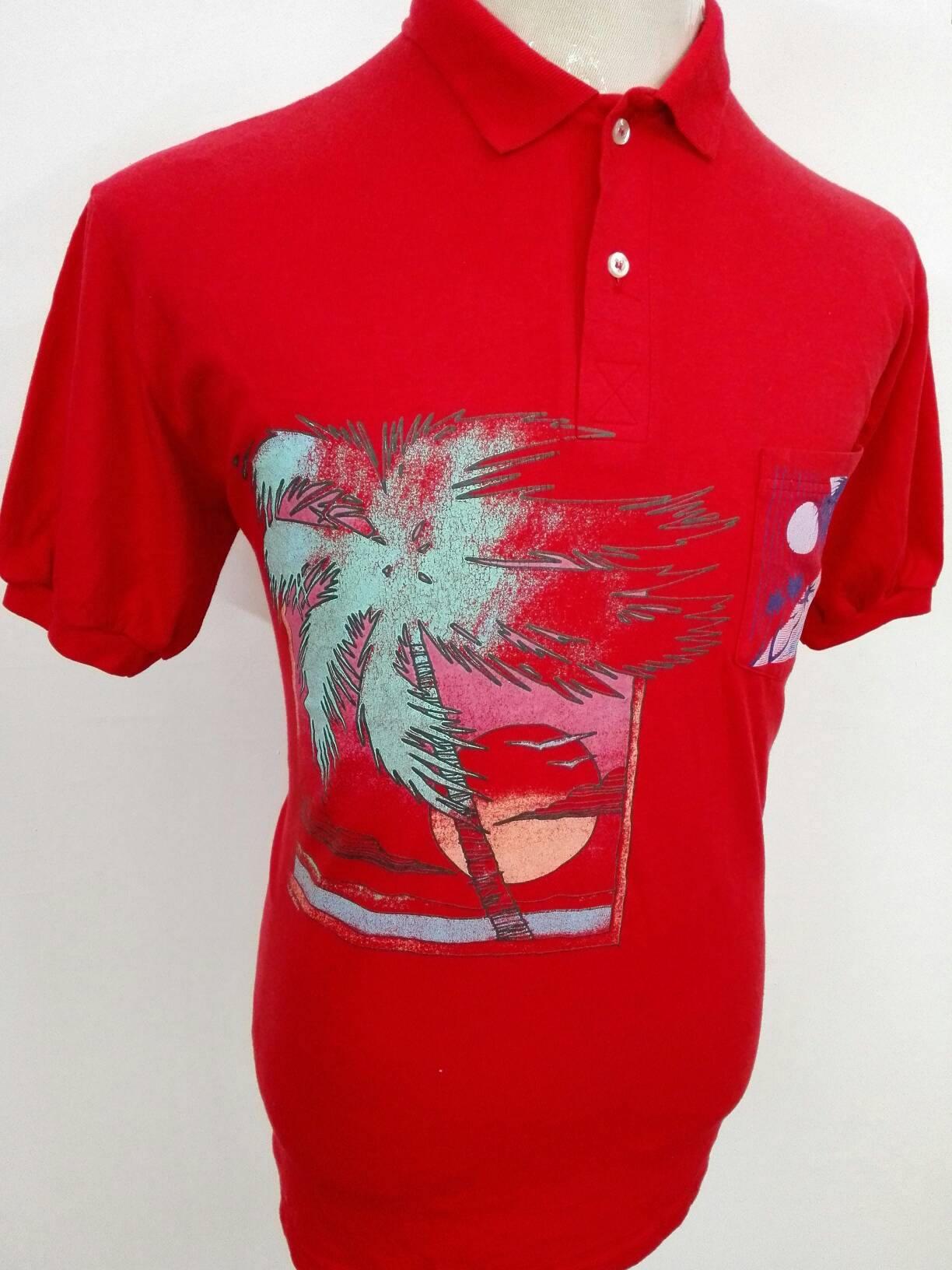 Vintage Hawaii Polo Shirt Surfing Beach Polytees Sunstroke Sportwear
