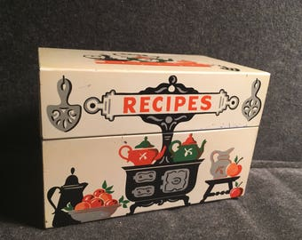Stylecraft of Baltimore No. 805 Metal Recipe Box w/ Hinge Lid WITH CARDS