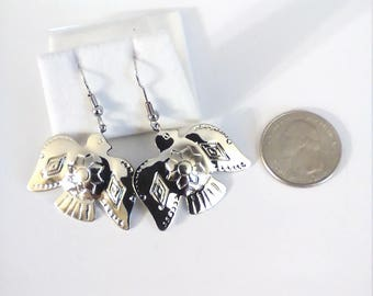 Vintage Silver Tone Thunderbird Earrings