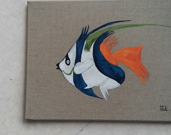 Painting frame fish acrylic on canvas