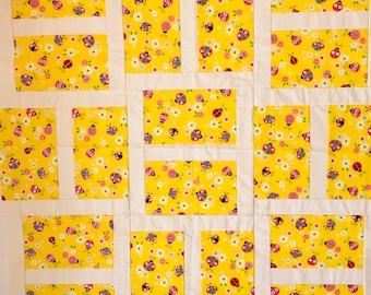 Unfinished Quilt top, Ladybug quilt, Springtime Quilt, Yellow Quilt, Baby quilt, crib quilt, baby blanket, car quilt