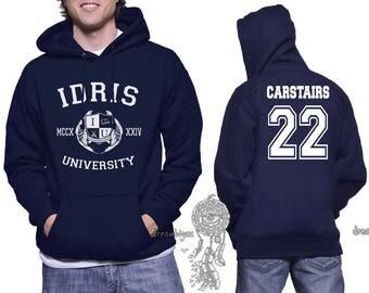 Carstairs 22 Idris University print on Unisex pullover Hoodie Navy