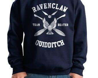 BEATER - Ravenc Quidditch team Beater White printed on Youth / Kids Crewneck Sweatshirt