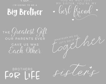 18 Piece Sibling Wordart Photoshop Overlays Marketing Materials INSTANT DOWNLOAD for Photographers, Photography Templates