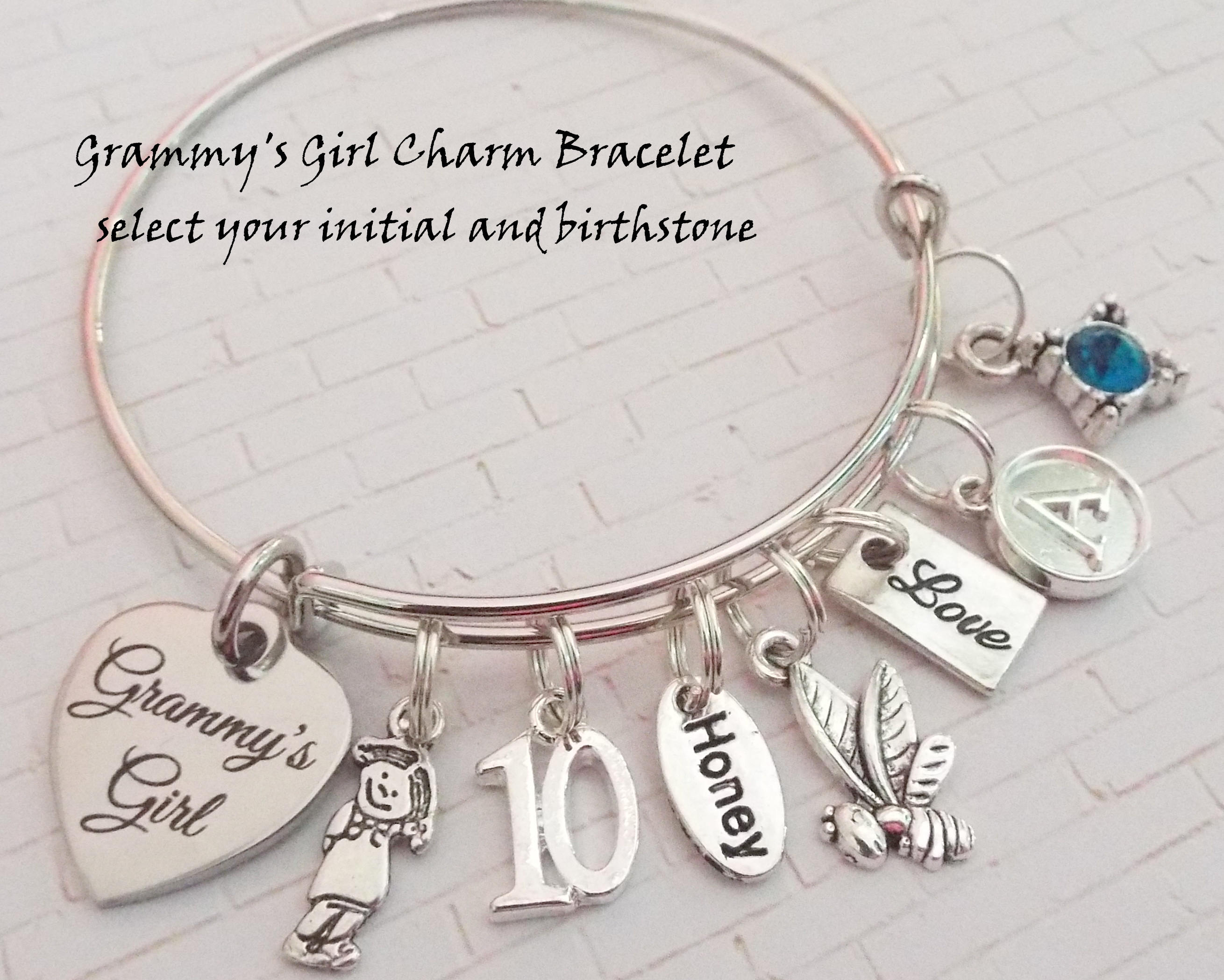 Gift Idea for Granddaughter 10th Birthday Charm Bracelet Happy