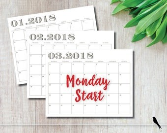 2018 Printable Wall Calendar MONDAY START - Taupe Modern Monthly Wall Calendar and Family Planner - Instant Download