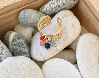 Ring Tessera gilt end and gemstones
