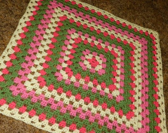 Peony, Pink, Cream and Sage Granny Square Baby Blanket