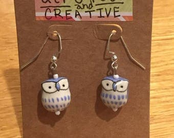 Owl Earrings- Periwinkle