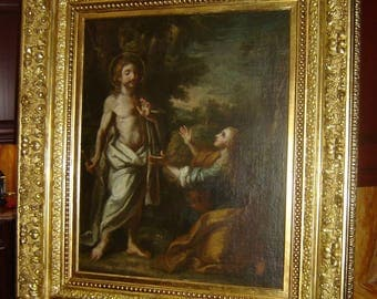 Antique Italian Old Master Religious Painting Christ and Mary Magdalene Rare Circle Of Francesco Casella 16th Century Artist Rare.