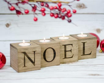 Christmas  Noel Candle Holder Wood Xmas Candles Holders Merry and Bright Christmas decorations Wooden Christmas Sign