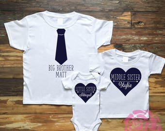 Big Brother Shirt, Middle Sister Shirt, Little Sister Shirt, 3 Sibling Shirt Set, 3 Sibling Shirts, Sibling Shirts, Sibling Shirt Set