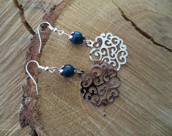 Silver earrings with blue print and swarovski Pearl Earrings