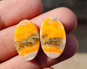 New year sale 17.20cts Bumblebee Pair natural Gemstone ,cabochon , smooth, oval  shape, 20x12x3mm size, AM134