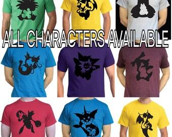 Pokemon T Shirt Evolution Line Kanto Region Pikachu Charizard Mewtwo Eevee