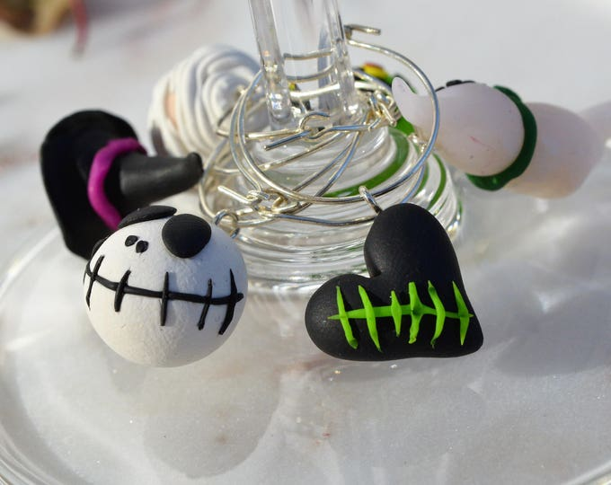 Original Halloween Party gift - Handmade Polymer Clay Halloween Wine Charms - Collection of six
