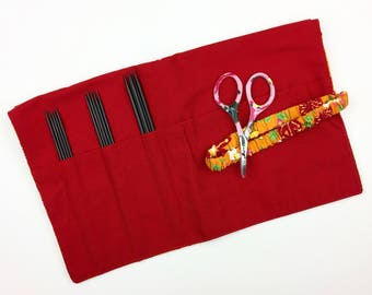 "Ebony Sock Set FREE Gift-Scissors, Nirvana Needle Arts 6"" Double Pointed Needles, 7"" Needle Hook Case Della Q Needle Case Red Floral Print"