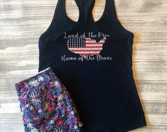 4th of July Tank Top, America Tank Top, Land of the Free