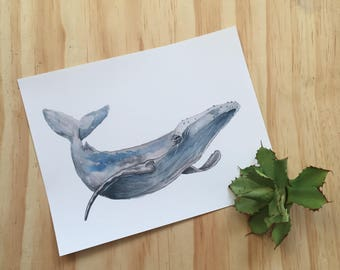 Whale Watercolor Art Print Home Decor