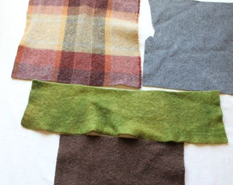 Lot 4 Pc Upcycled Felted Wool for Penny Rugs, Quilts, Applique, Crafts