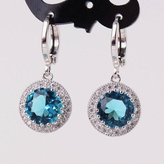 Lovely 18 ct white gold filled aquamarine sapphire  earrings