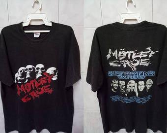 VINTAGE Motley Crue Scorpions / American german heavy metal band tour concert tee t-shirt