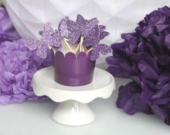 10 décorations pour petits gâteaux (cupcakes toppers )- papillons paillettes de couleur parme