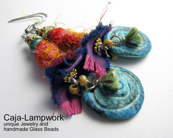 Turquoise orange silk, polymer clay earrings and Lampwork beads