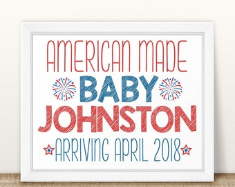 Printable Pregnancy Announcement, American Made, Labor Day, Memorial Day, 4th of July Pregnancy Announcement, Pregnancy, Sign Red white blue