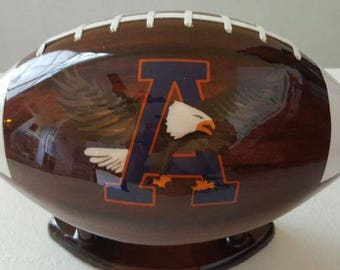 Hand carved and painted wooden Auburn football