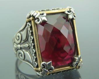 925 Sterling Silver Ruby Stone Men Ring