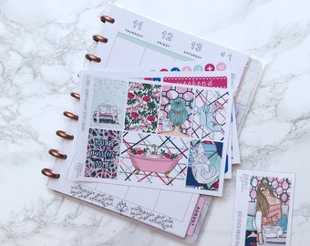 MATTE Classic HP Pamper & Purr Essentials Planner Sticker Kit (3 Sheets) with FREE Bonus Box Girl Sticker - For Classic Happy Planners