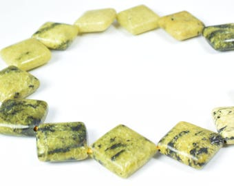 16mm  Square Light Green Agate Gemstone Beads 1 strand 21 PCs Size, Hole Size 1mm Natural, Healing, Chakra, Birthstone for Jewelry Making
